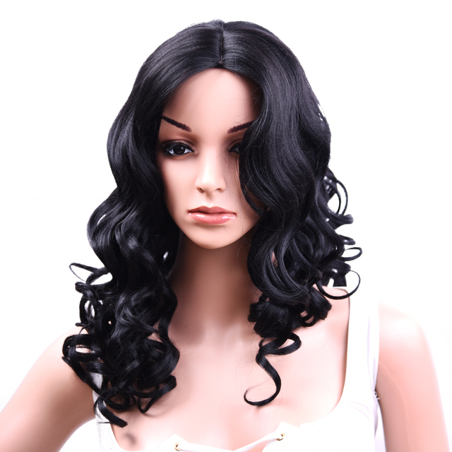 22Inch Long Synthetic Wig Body Wave Wig Full Machine Made Natural Black Wavy Wigs For Women 190g/pc