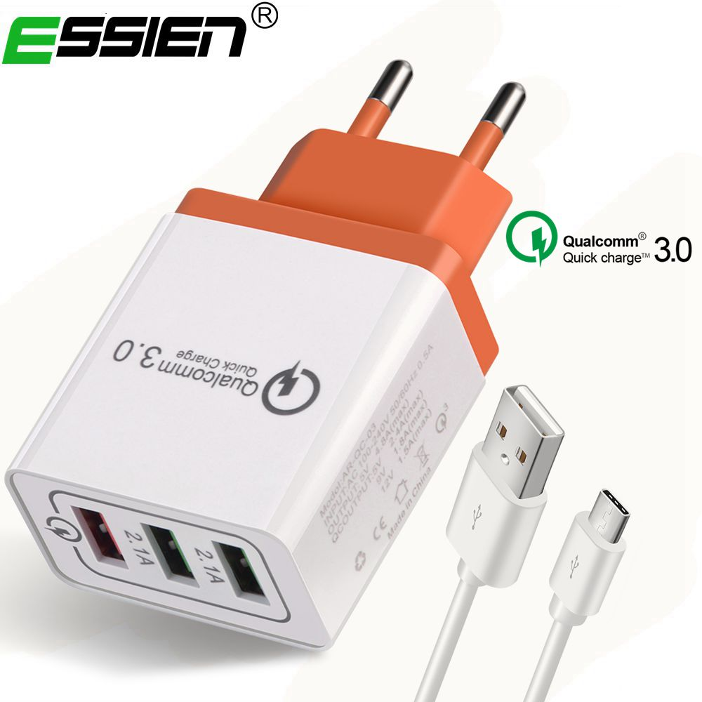 Essien 3Ports USB Type c Quick Charge 3.0 3 Ports USB Charger With Micro Type-C USB Cable usb Travel Wall Fast Charger Adapter