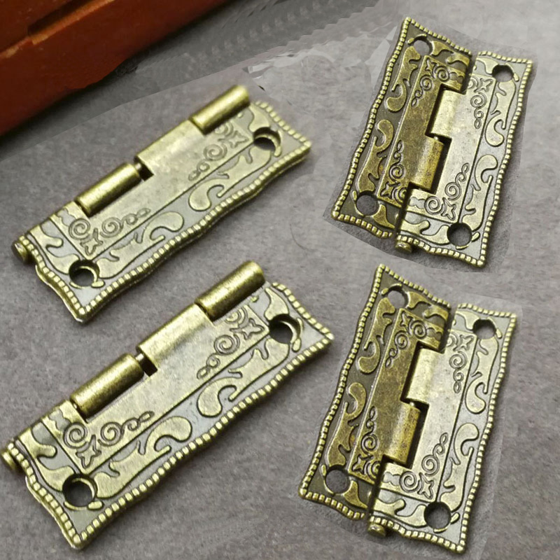 10PCS Antique Bronze Hinges Cabinet Door Drawer Decoration Vintage Hinge For Jewelry Wooden Box Furniture Hardware With Screws