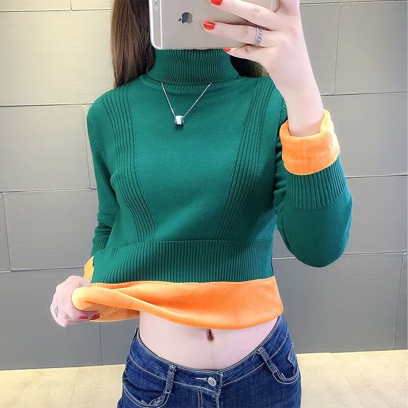 Plus Thick High Neck Sweater Women Winter Solid Warm Pullovers Velvet Inside Loose Jumper Female Oversize Turtleneck Sweater