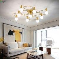 Nordic Lustre Copper Metal Led Chandeliers Lighting Living Room Led Ceiling Chandelier Lights Bedroom Led Chandelier