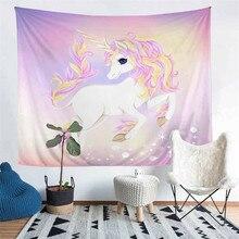 HELENGILI Home Furnishing Unicorn Tapestry Wall Hanging Sandy Beach Picnic Throw Rug Blanket Camping Tent Sleeping Pad #DJS-4