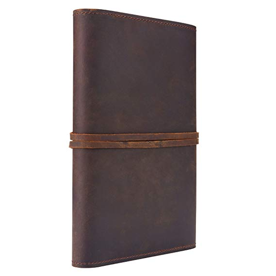 Refillable Genuine Leather Journal Writing Notebook Lay Flat Blank Notepad 100 Sheets <font><b>100gsm</b></font> Thick <font><b>Paper</b></font> A5 Size image