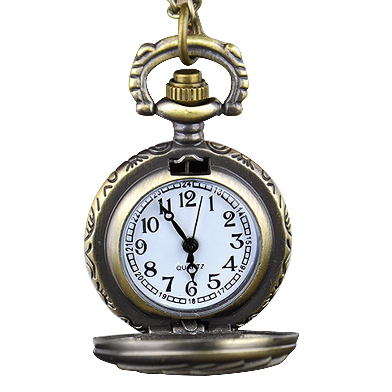 Retro Bronze Steampunk Quartz Pocket Watch Pendant Chain Clock Poker Pattern