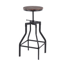 iKayaa Metal Kitchen Dining Chair Height Adjustable Swivel Bar Stool Industrial Style Natural Pinewood Top(China)