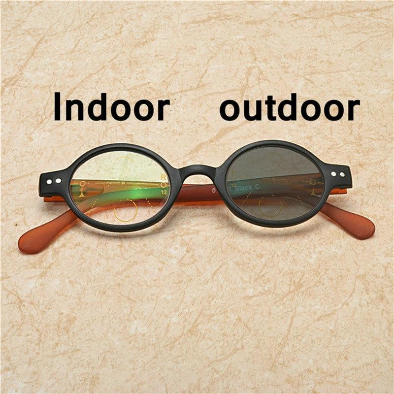Women round multifocal reading glasses transition sun photochromic UV400 progressive reading glasses with box NX