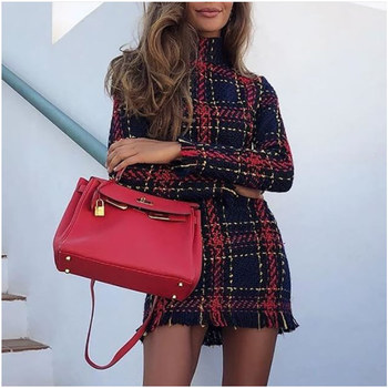 Новое модное зимнее платье для женщин плед печатных Полосатый с длинным рукавом Тонкий Тощий сексуальное облегающее Мини Винтаж