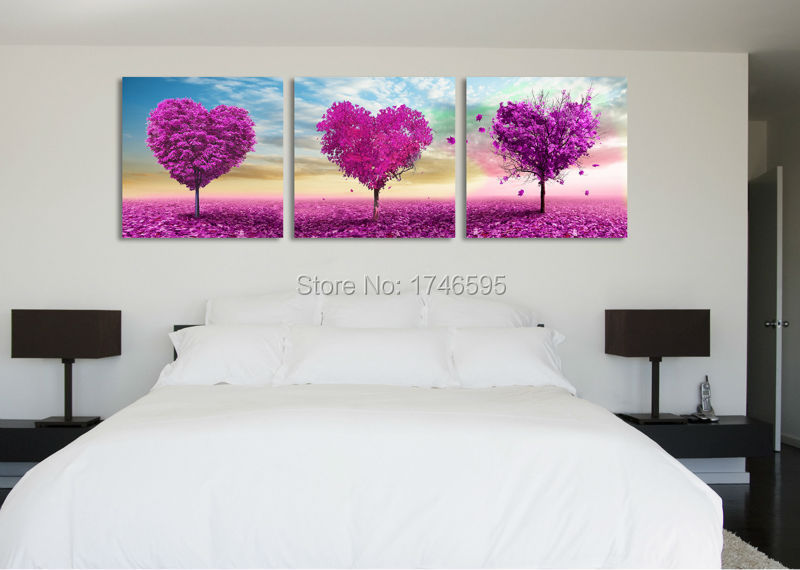 US $16.8 50% OFF|Big size modern home wall art decor purple heart tree Wall  Art picture living room bedroom wall decor landscape print Painting-in ...