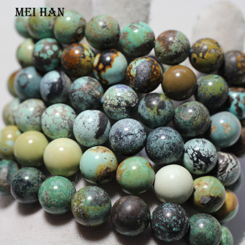 Meihan wholesale 11 5 12mm 17beads 34g set low price natural Hubei untreated turquoisee beads stone