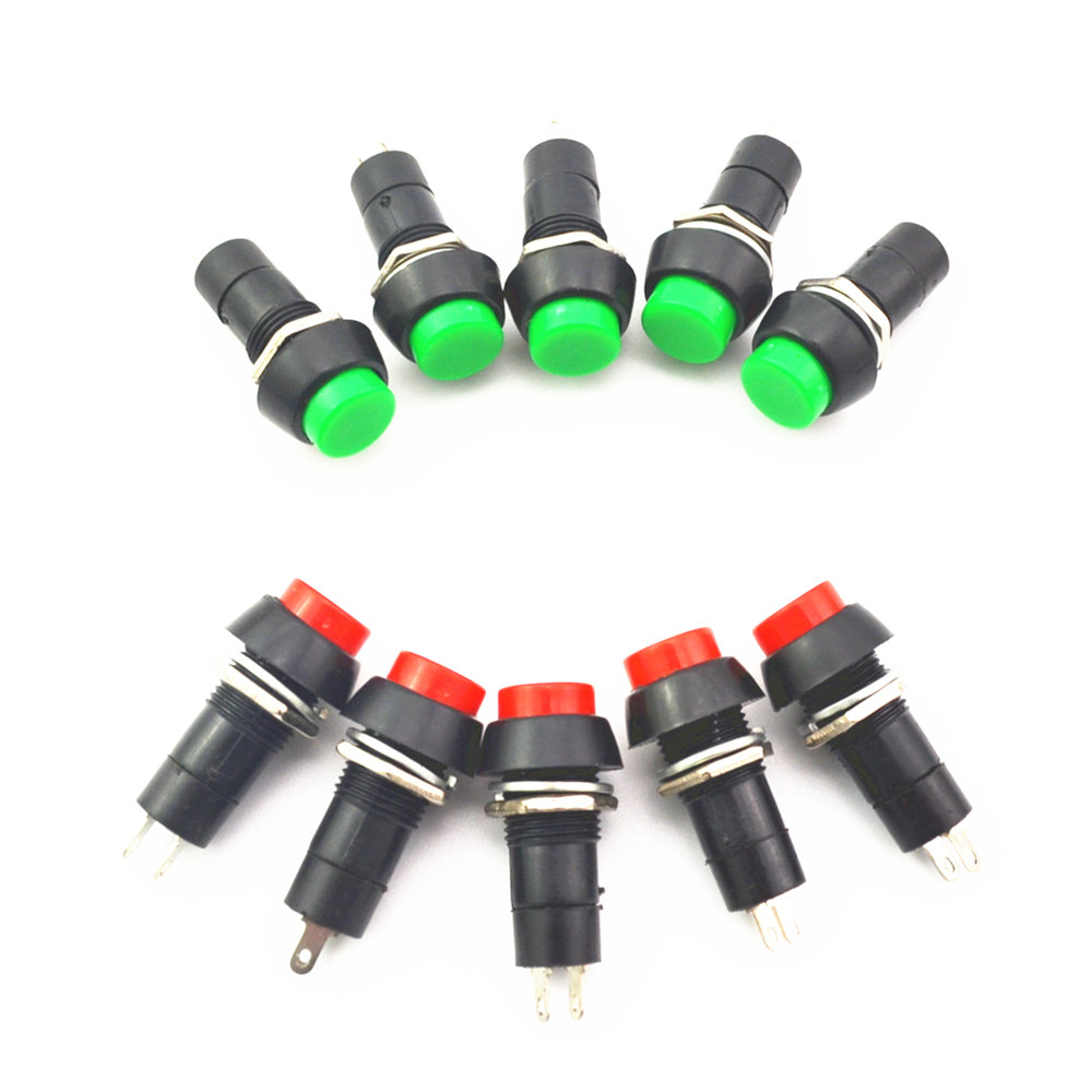 10pcs 2PIN Plastic 12mm Push Button Latching Momentary Switch 3A 150V Red green 10pcs momentary push button switch 16mm momentary pushbutton switches 6a 125vac 3a 250vac round switch