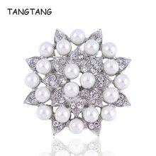 Broche TANGTANG, 45 MM, elegante, con cuentas, Perla simulada, flor de pétalo, broche en tono plateado, broche de boda, de moda, artículo: BH8363
