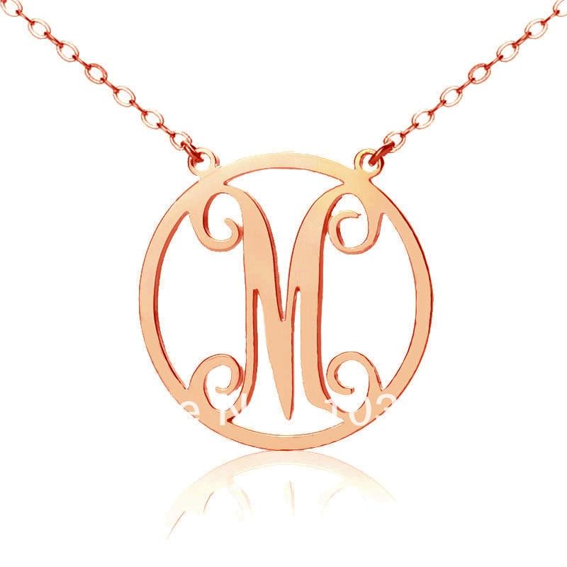 ⑦Freeshipping-collar del monograma del círculo con 1 carta ...
