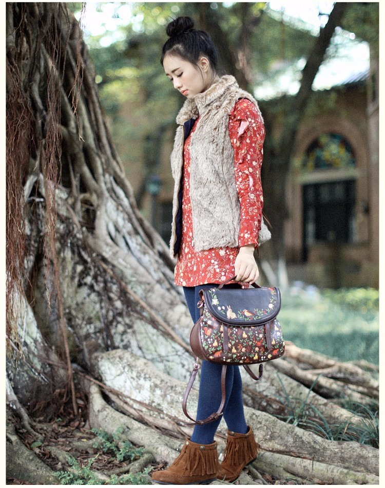x9 Saddle Floral Flap Cover Bags Leather PU Embroidery Women\'s Handbags Bags Totes Bolsa Feminina