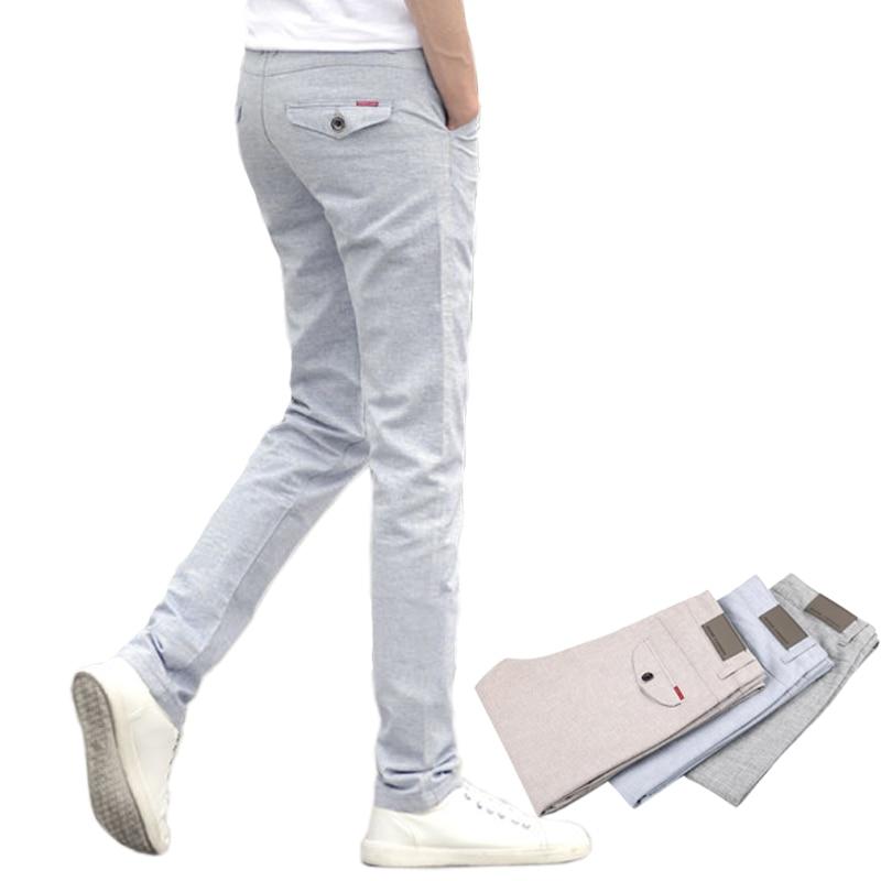 2018 New Men's Linen Casual Pants Slim Fit Fashion Business Casual Trousers Male Trouser Full Length Straight Slacks Mens