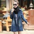 #3003 Korean 2016 Spring Long denim jacket Women clothing Loose Fashion Windbreaker Long Jeans jacket Chaqueta vaquera mujer