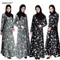 2016new moda mujeres musulmanas vestido más tamaño jibabs abaya dubai kaftan manga larga vestido de talle forma printng ropa túnica árabe