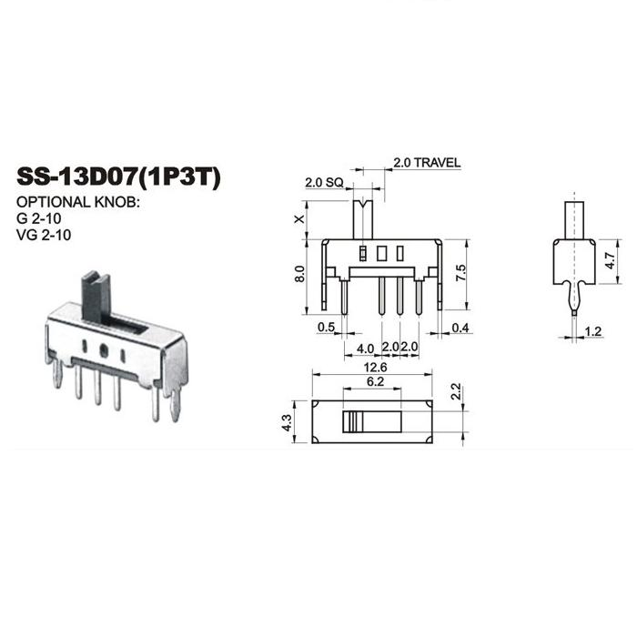 10/pcs on//off Spdt 7/broches Slide Power Panel PCB SMD SMT commutateur 7/x 3/mm