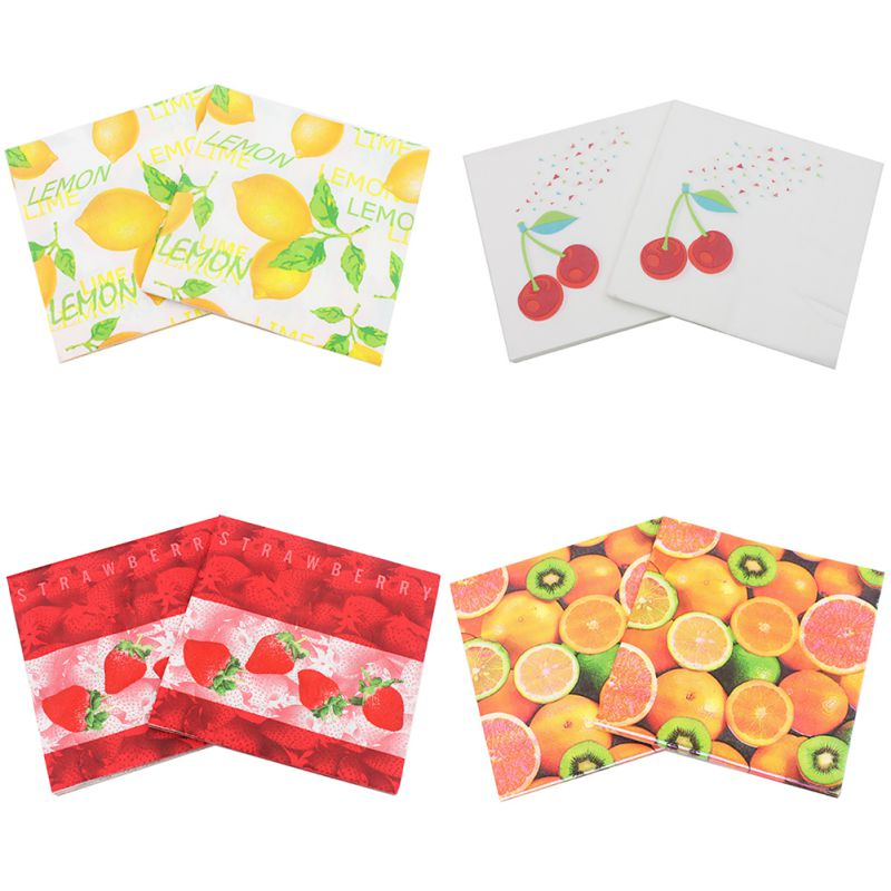 20pcs/set Fruit Printed Paper Napkins Festival Party Paper Plates Tissue Disposable Tableware For Weeding Dinner