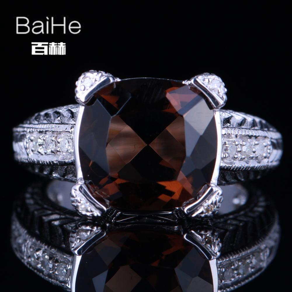 Baihe Solid 14k White Gold 0.6ct Certified Oval Cut Flawless Garnets Wedding Women Trendy Fine Jewelry Ring au585