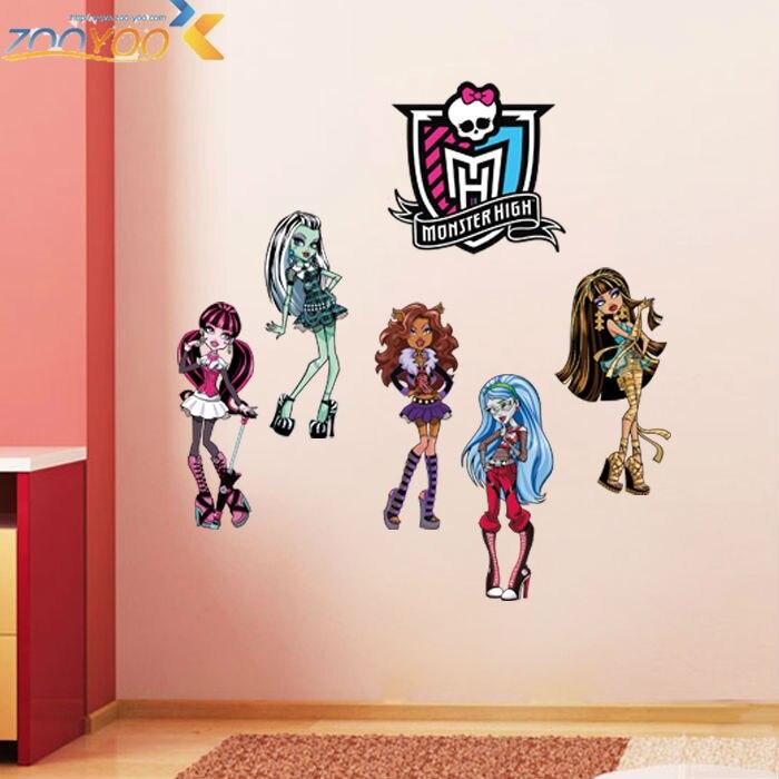 % monster high popular cartoon wall stickers for kids room bedroom adesivo de parede art pvc wall decal home decor Art Poster