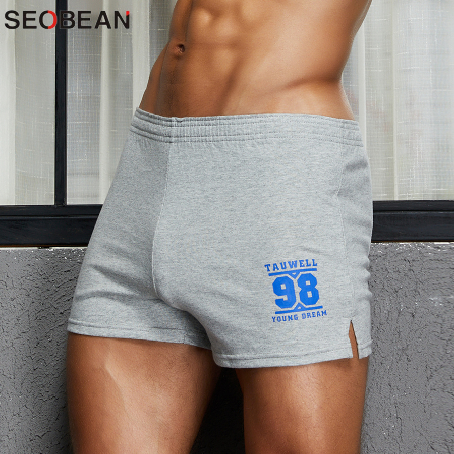 2020 New Lounge Sleepwear Loose Shorts Cotton Soft Comfortable Underwear Men Boxer Shorts Solid Bottom Home Shorts