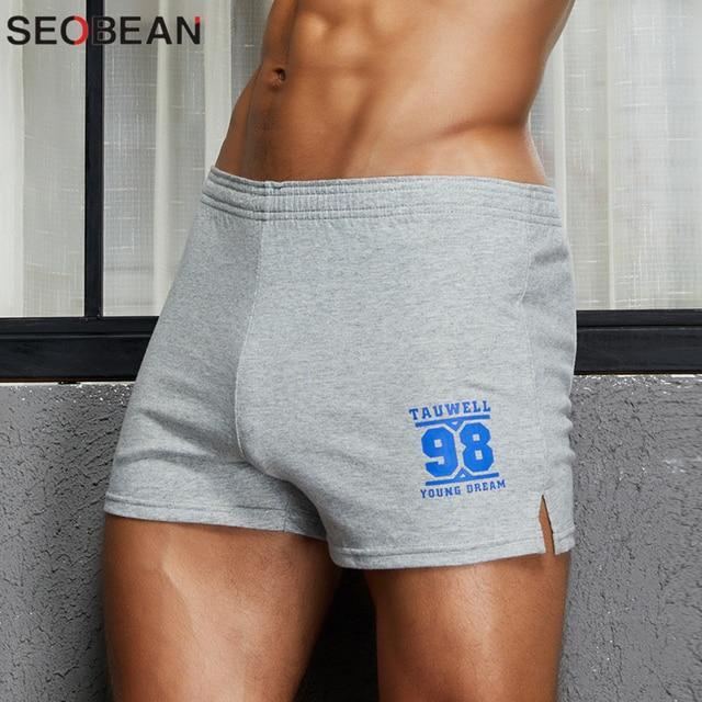 2020 New Lounge Sleepwear Loose Shorts Cotton Soft Comfortable Underwear Men Boxer Shorts Solid Bottom Home Shorts