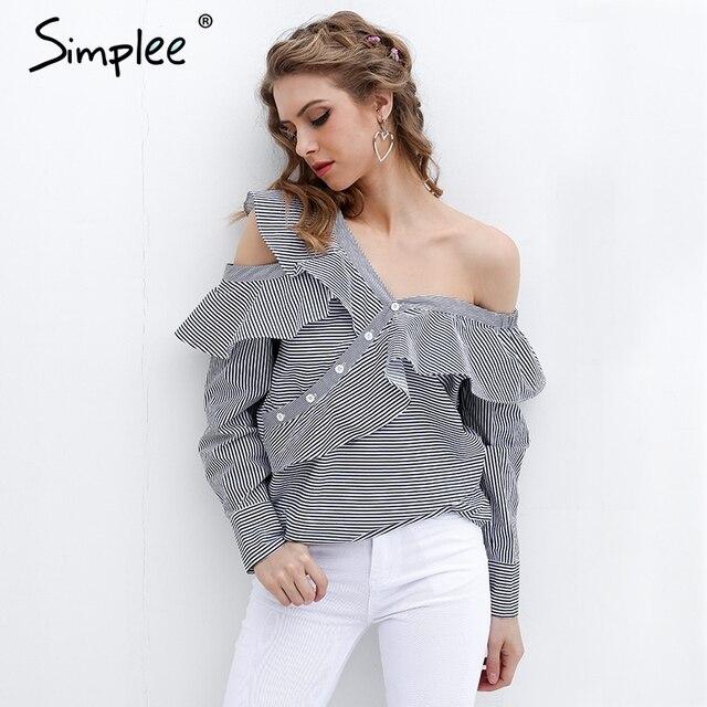 2011ea905a5 Simplee одно плечо блузка рубашка Женщины топы летние блузы и рубашки  Сорочка femme рюшами Длинные рукава
