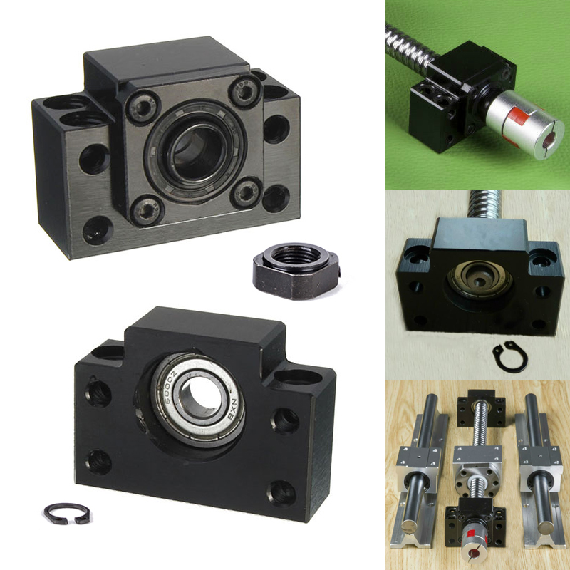 1 Set Mayitr BK12 BF12 Ballscrew End Supports Bearing Block Mounts Base Carbon Steel High Precision Ball Screw Support Bracket fixmee performance bearing mounts high rigidity ff12 ball screw end support cnc