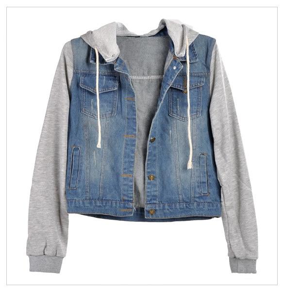 2017 Winter Spring Jacket Women Denim Coat Hooded Jacket Women Loose Jean Baseball Sportwear Denim Jackets Spring Women Coat#40