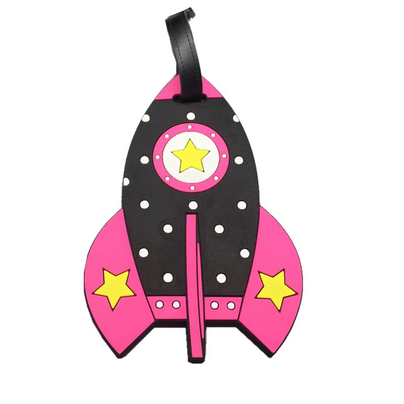 Creative Rocket Luggage Tag Travel Accessories Women Silica Gel Suitcase Address Holder Baggage Boarding Portable Portable Tag
