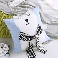 Cartoon Bear Cushion 100% Cotton Yarn Knitted Cushions Pillow Throw Sofa Seat Home Decor 45*45cm Solid Pillows
