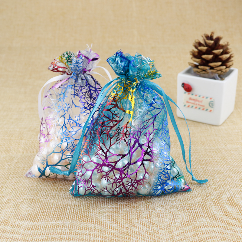 New 10Pcs 12X9cm Coralline Organza Jewelry Pouch Wedding Party Favor Gift Bag Hot Drawstring Christmas Packaging Bags
