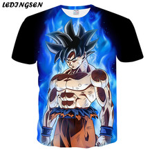 LEDINGSEN Mens 3Da T Shirt Dragon Ball Z Ultra Instinct Goku Super Saiyan God Blue Vegeta Print Cartoon Anime Funny T-shirt 4XL