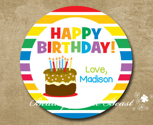 Customized Personalized Rainbow Birthday Gift Sticker Label Party Decorations Kids Candy Box Favors Bar
