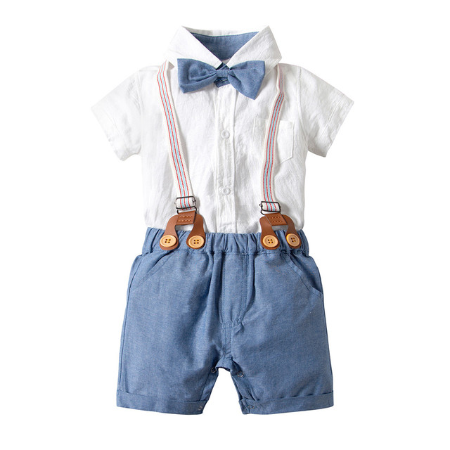 0649dd6e 2019 Summer Toddler Baby Boys Clothing Sets Short Sleeve Bow Tie Shirt+Suspenders  Shorts Pants