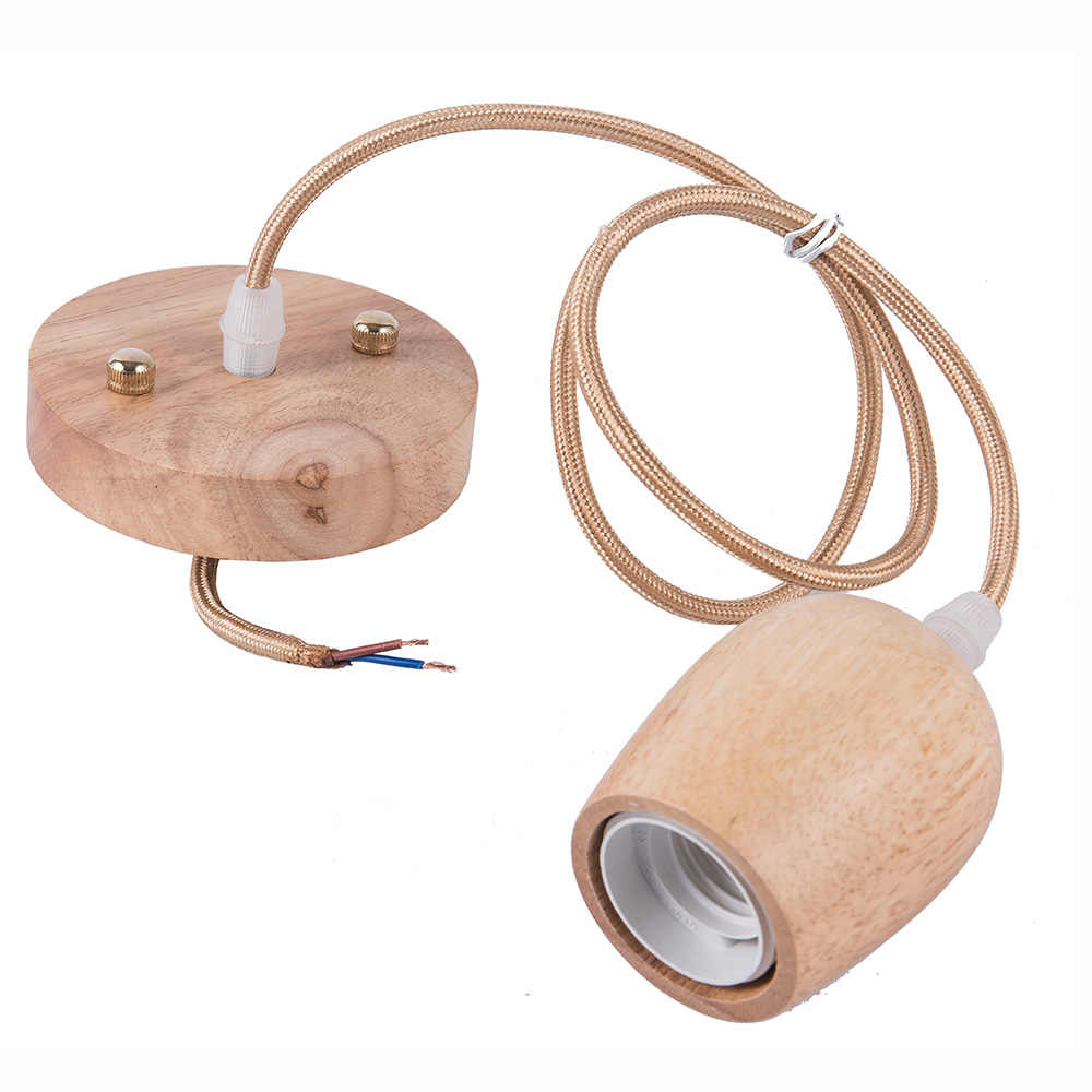 Newest Design Wood Cup Led Lamp Base E27 Vintage Retro Lamp Holder Pendant Bulb Light Screw Socket Modern Style