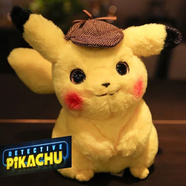 2019 Detective pikachu plush cute movie Claw machine doll quality toys for girl Children gift