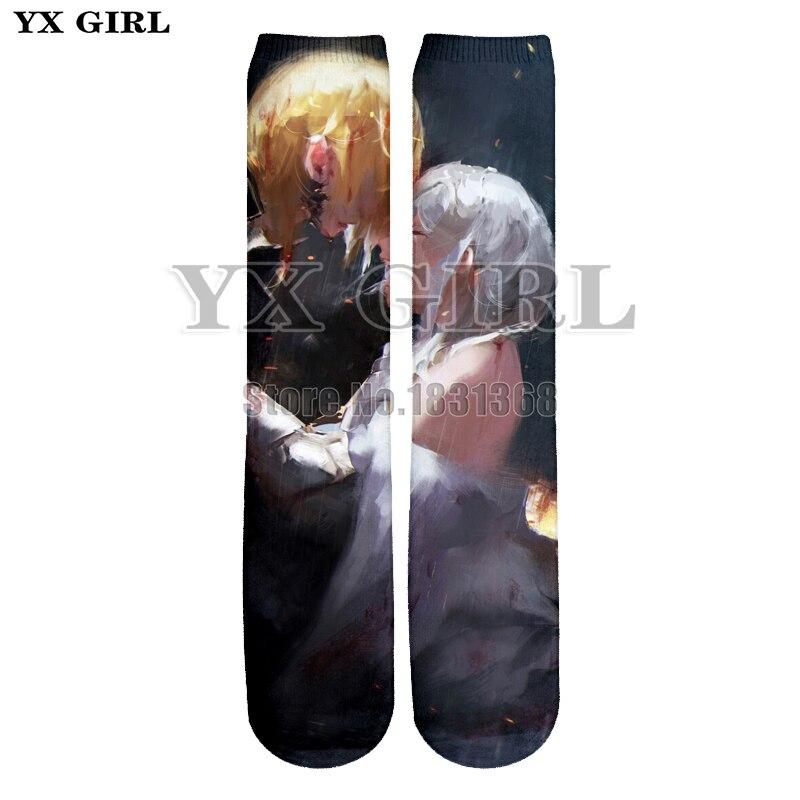 YX GIRL men women Sexy lips 3d print anime character funny socks Harajuku unisex cool Cotton long socks