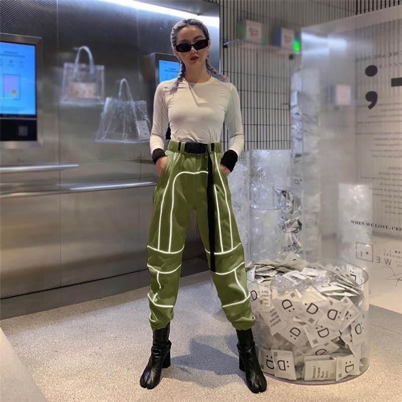 Negro Costura Pantalones 2019 Ropa Mujeres Largos gris Mujer Casuales caqui Moda Femenina Nuevas De Reflectante Las verde Joggers Femenino C80wZpqx0