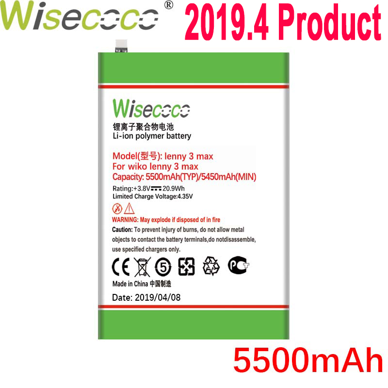 WISECOCO 5500mAh Lenny 3 Max Battery For Wiko Lenny 3 Max Phone In Stock Latest Production High Quality Battery+Tracking Number