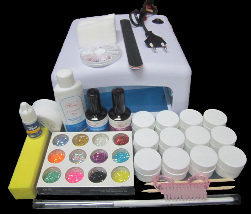 Nic-123 free shipping Pro Full 36W White Cure Lamp Dryer & 12 Color UV Gel Nail Art Tools Sets Kits 2017 hot pro full 36w white cure lamp dryer 12 color uv gel nail art tools set kit