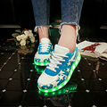 ГОРЯЧАЯ! новый Светло-голубой Мужчин Повседневная Обувь Led Обувь Унисекс размер Светящийся Мода Homme Femme Световой Случайные Кроссовки