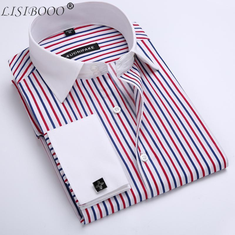 LISIBOOO Men Casual Slim Fit Shirt Mens Long Sleeve Business Dress Shirt French Cufflinks Shirt Male Striped Shirt