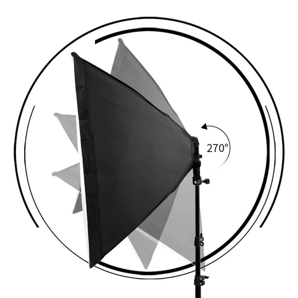 Fotografía 50x70CM iluminación cuatro lámparas Softbox Kit con soporte Base E27 caja suave accesorios de la cámara para la foto estudio de video