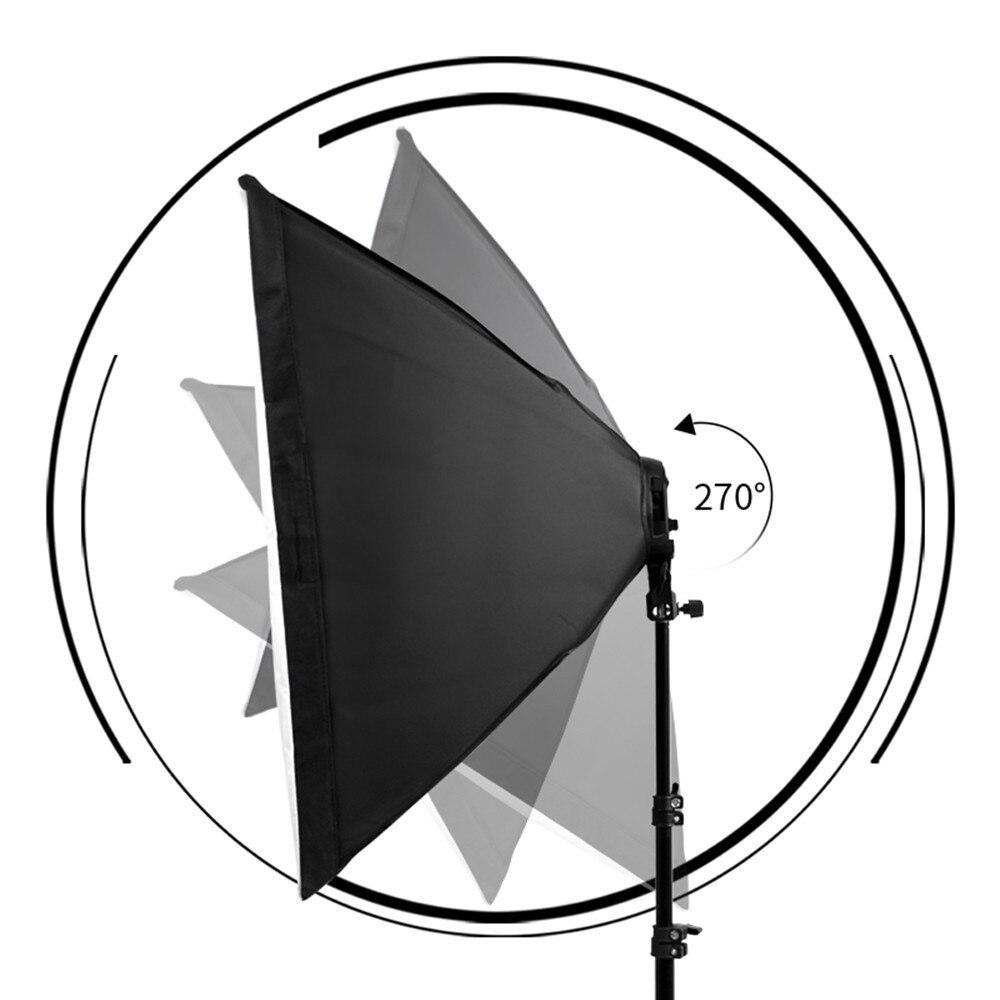 Photographie 50x70CM éclairage quatre lampe Softbox Kit avec support de Base E27 boîte souple accessoires pour appareil Photo Studio Vedio - 3