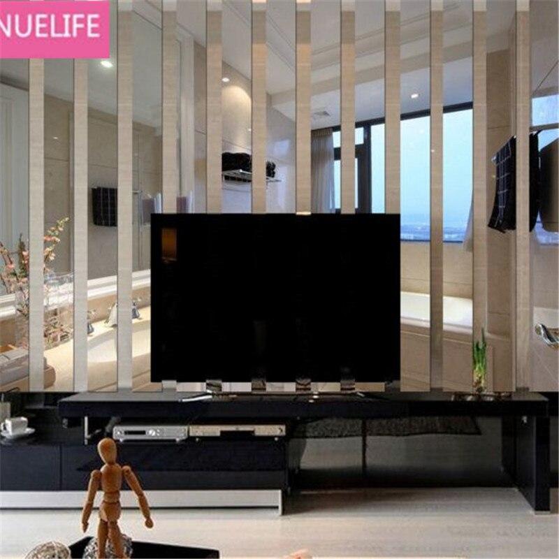 5pcs Striped rectangular pattern mirror wall sticker living room bedroom TV sofa background bathroom decoration mirror N3
