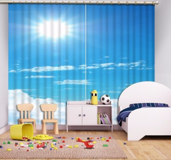 Modern Curtains Living Room Painting bule sky white clouds Curtains For Window Hook Polyester/Cotton Bedroom Drapes
