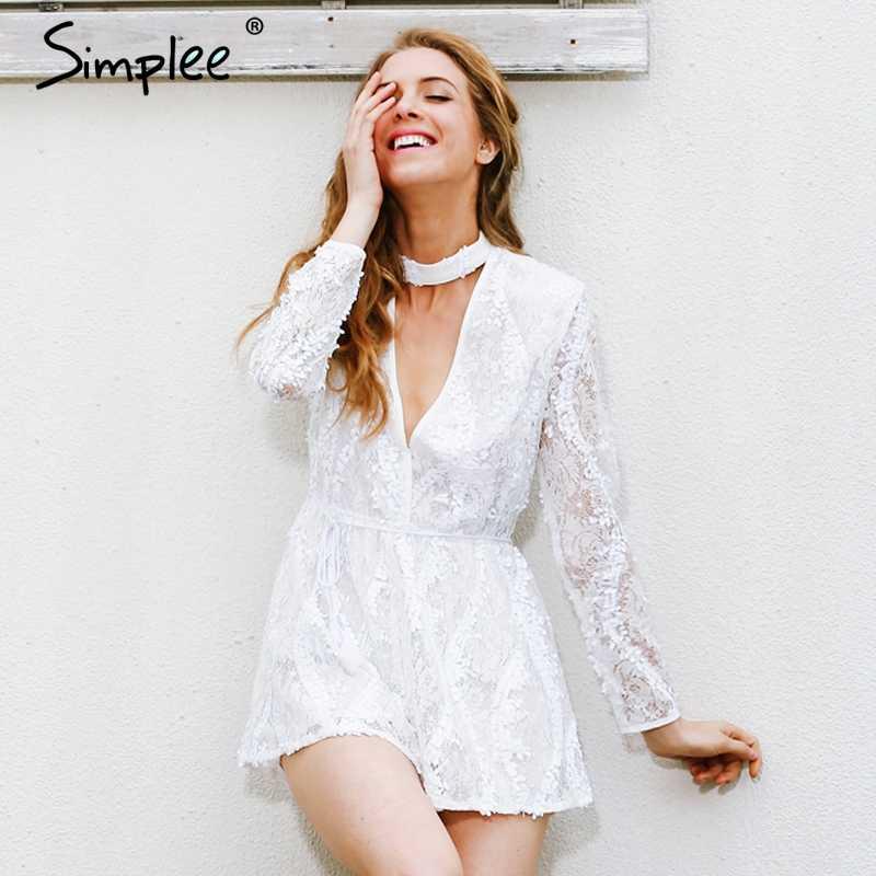 Женский белый комбинезон-халтер Simplee, кружевные комбинезоны с блестками, глубоким V-образным вырезом и длинным рукавом, летний пляжный комбинезон
