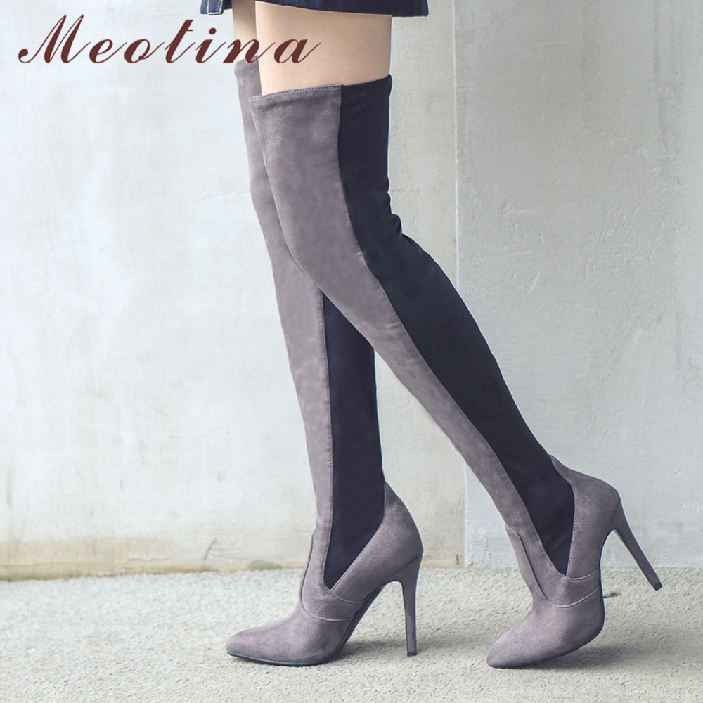Meotina Thigh High Boots Women Winter Over the Knee Boots Elastic Fabric High Heel Boots Pointed Toe Sexy Ladies Shoes Red Black black stretch fabric suede over the knee open toe knit boots cut out heel thigh high boots in beige knit elastic sock long boots