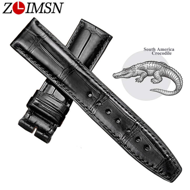 ZLIMSN Black Alligator Leather Watch Band Strap Men Women Luxury Crocodile Leather Watchband 12mm-26mm Can be Customized Size crocodile skin pattern cow leather wristwatch strap watchband black size 20l